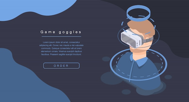 Game goggles concept banner, isometric style