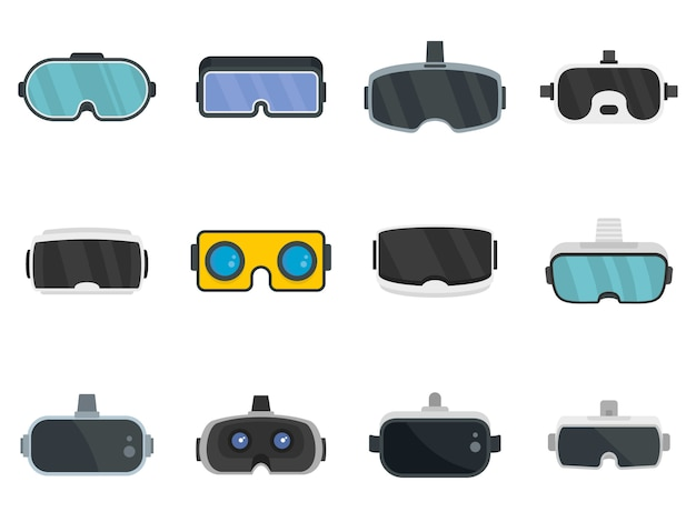 Game goggles icons set