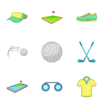 Game of golf set, cartoon style
