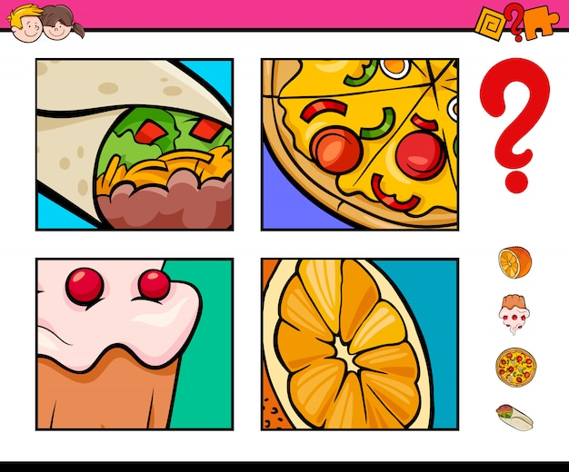 Game of guessing food objects for children