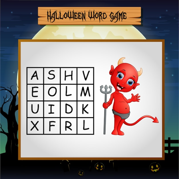 Game halloween find the word devil