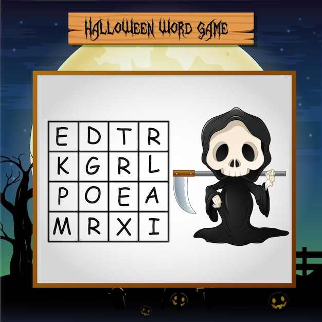 Game halloween find the word of grim reaper