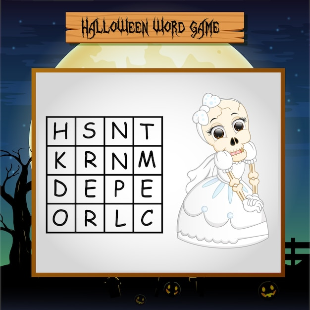 Game halloween find the word of skeleton