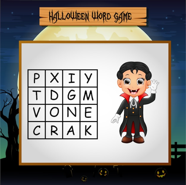Game halloween find the word vampire