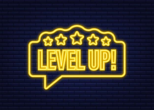 Бонус со значком игры. значок уровня вверх, логотип нового уровня. неоновая иконка. векторная иллюстрация.