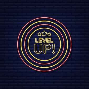 Game icon bonus. level up icon, new level logo. neon icon. vector illustration.
