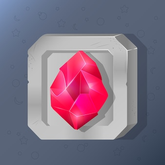 Game icon of crystal in cartoon style.