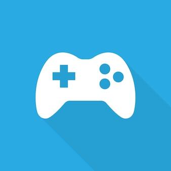 Значок игры. символ игры. белый геймпад на синем фоне плоский стиль. вектор. eps 10
