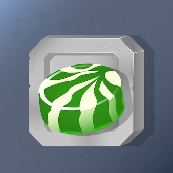 Game icon of green candy in cartoon style.