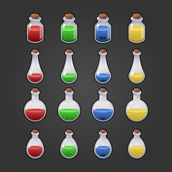 Game icon of magic elixir. interface for mobile game. magic bottles set. isolated