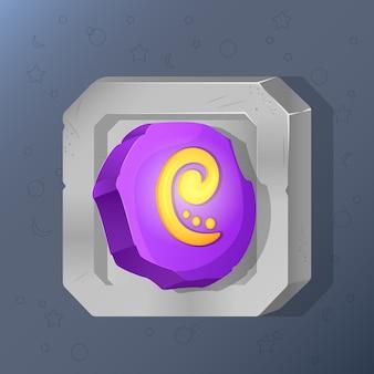 Game icon of magic runic stone in cartoon style.