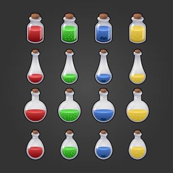 마법의 비약의 게임 아이콘. 모바일 게임을위한 인터페이스. 마법의 병 세트. 외딴