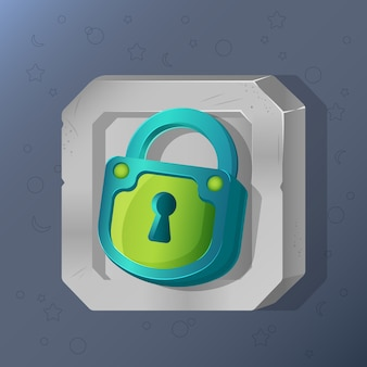 Game icon of padlock in cartoon style.