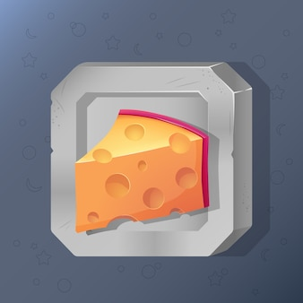 Game icon of piece of cheese in cartoon style.