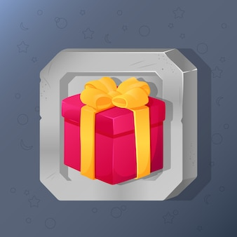 Game icon of present box with bow in cartoon style.