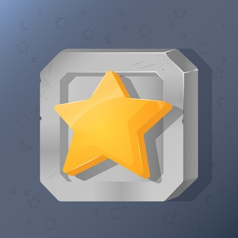 Game icon of star in cartoon style. sign for victory.