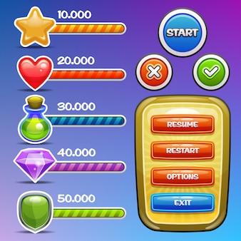 ゲームのインターフェイス要素。進行状況バー、オプションバナー、ボタンが付いたアイコン。 。