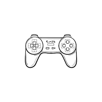 Game joystick hand drawn outline doodle icon. video game controller and gamepad, pc game controller concept