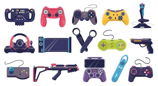 게임 조이스틱 아이콘 및 게이머 가제트 기술, 그림의 컨트롤러 세트. 전자 비디오 조이스틱, 컴퓨터 장치. 디지털 플레이, 엔터테인먼트를위한 게임 콘솔 컬렉션.