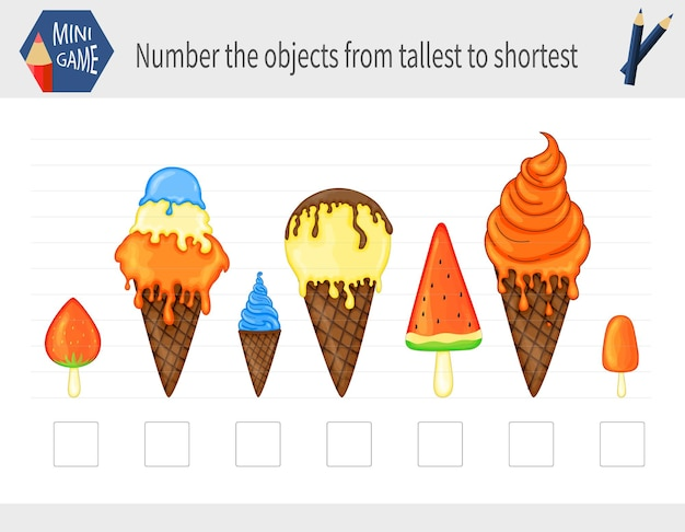 Game for kids to determine the size of the subject. cartoon style.