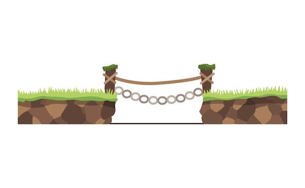 게임 풍경. 만화 디자인 자연. 나무 다리와 풍경