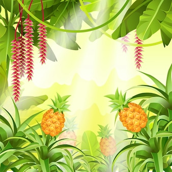 Game landscape with tropical plants