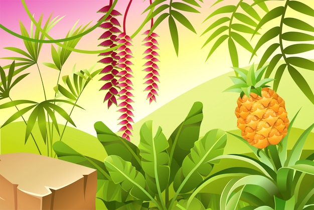 熱帯植物のあるゲーム風景。
