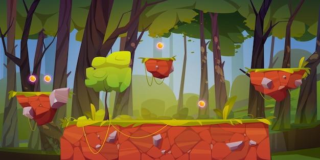 플랫폼과 아이템이있는 게임 레벨 배경