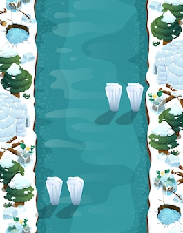 Game level background with platforms and items game winter landscape with traps