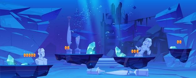 Иллюстрация игрового уровня с платформами под водой в море или океане, подводный пейзаж с древними руинами