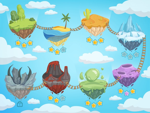 Game level map. mobile ui stages with various isometric islands with rock grass ice water and volcano vector template
