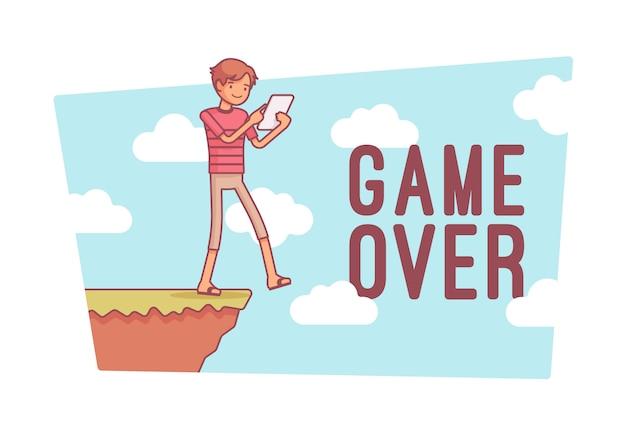 Game over, line art illustration
