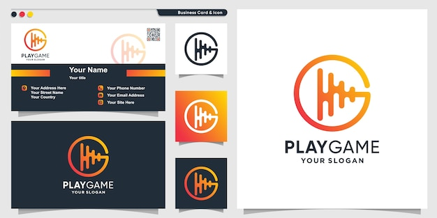 Game logo with play line art style and business card design template