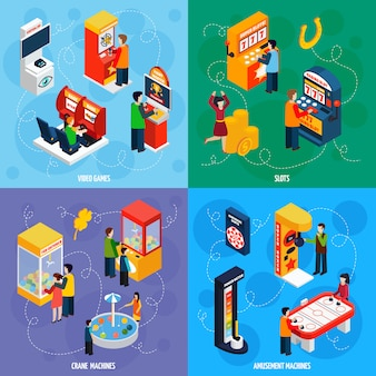 Game machines isometric icons square
