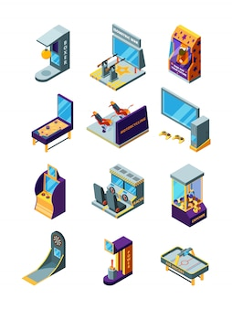 Game machines. race simulator darts arcade funny games for kids pinball amusement park isometric machines