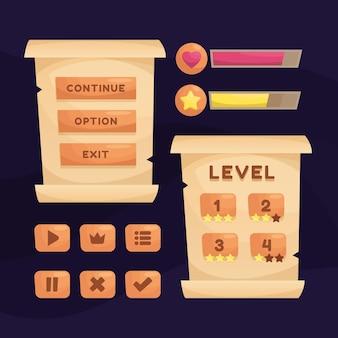 Сцена игрового меню для статуса денежной силы и коллекционных предметов