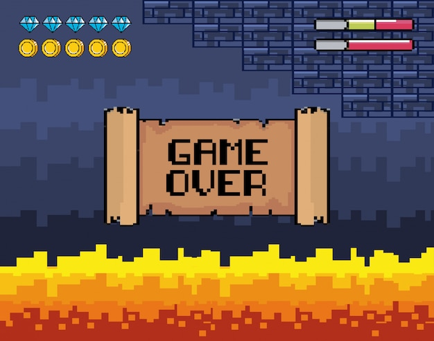 Game over message with fire scene and life bars