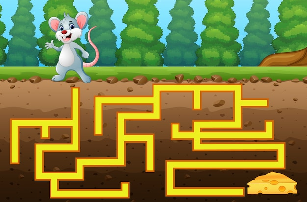 Game mouse maze find way to the cheese