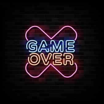 Game over neon sign, gaming design template