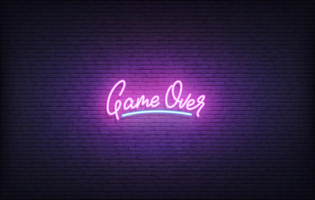 Game over neon sign. glowing neon lettering gamers template.
