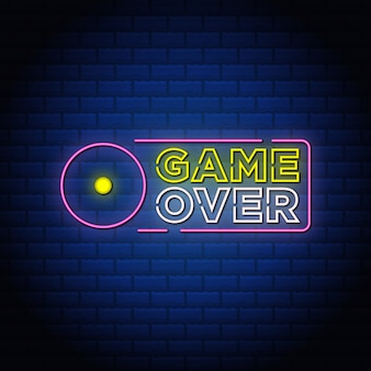 Game over neon signs style text design in blue wall