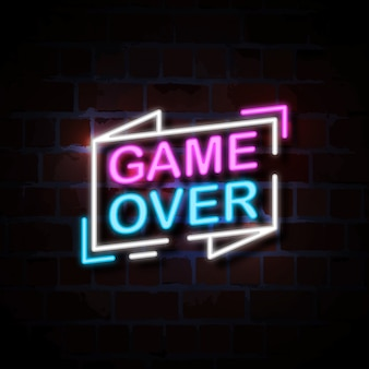 Game over neon style sign illustration