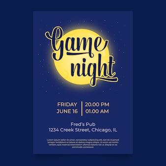Game night announcement poster or invitation concept of night activity pub quiz trivia bingo