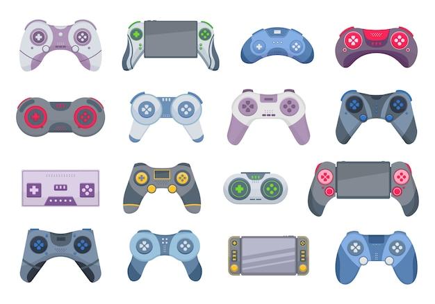 조이스틱 흰색 배경에 고립의 게임입니다. 조이스틱 만화 아이콘을 설정합니다. 비디오 게임 콘솔.