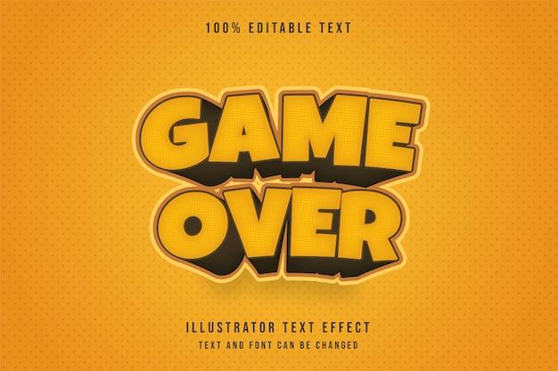 Игра окончена, редактируемый текстовый эффект 3d.