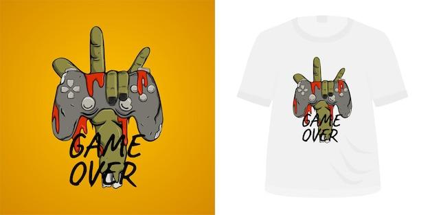 Tシャツデザインのゲームオーバー