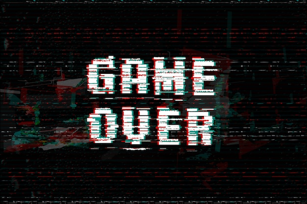 Game over glitch текст эффекта