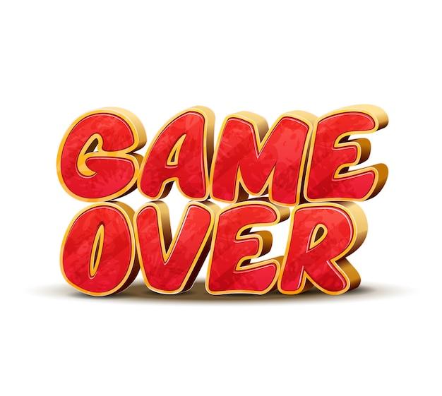 ゲームデザインのゲームオーバーアイコン。ゲームオーバーインターフェイスメッセージ。