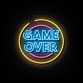 Игра окончена неоновая вывеска неоновый символ Premium векторы