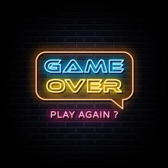 Игра окончена неоновые вывески дизайн шаблона неоновая вывеска